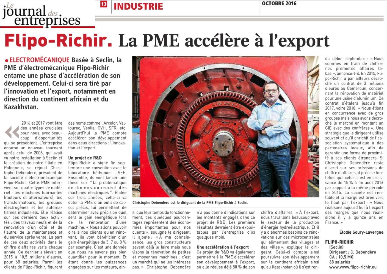 La PME accélère à l'export revue de presse l Flipo richir
