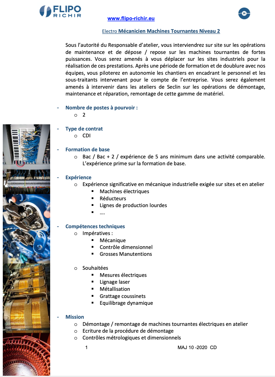 Electro Mécanicien Machines Tournantes Niveau 2 l Flipo Richir