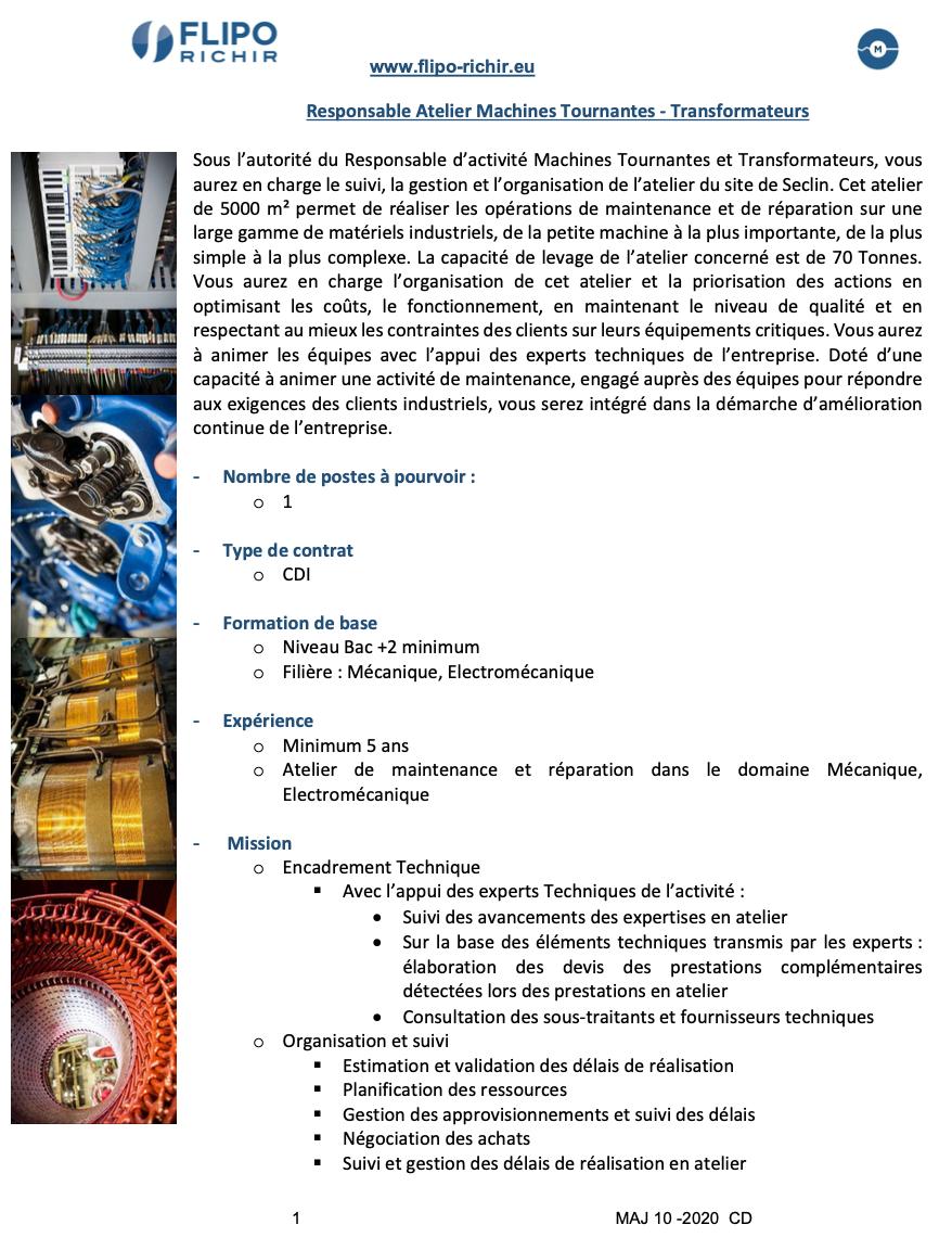 Responsable Ateliers Machines Tournantes - Transformateurs l Flipo Richir